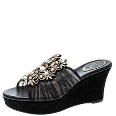 Rene Caovilla Black Pearl Embellished Ruched Tulle Peep Toe Wedge Slides Size 37