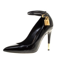 Tom Ford Black Patent Leather Ankle Lock Pointed Toe Pumps Size 37