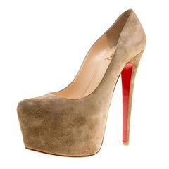 Christian Louboutin Beige Suede Daffodile Platform Pumps Size 37