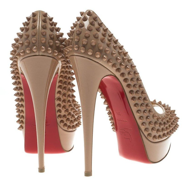 7c449984b1e1 Christian Louboutin Beige Patent Leather Lady Peep Toe Spike Platform Pumps  Size In New Condition For