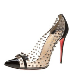 Christian Louboutin Black Studded PVC and Suede Bille Et Boule Bow Pointed Toe P