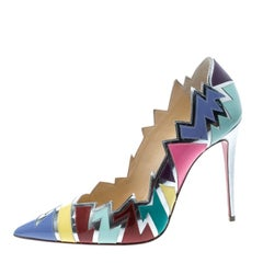 Christian Louboutin Multicolor Jagged Leather Explotek Pointed Toe Pumps Size 38