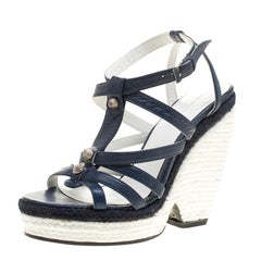 Balenciaga Blue/White Leather Espadrille Wedge Sandals Size 38