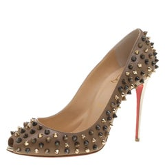 Christian Louboutin Brown Leather Follies Spikes Peep Toe Pumps Size 38.5