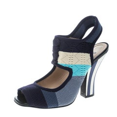 Fendi Multicolor Knitted Mesh Fabric Ankle Strap Sandals Size 37.5
