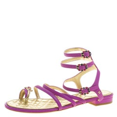 Chanel Purple Leather Enamel Embellished Toe Ring Flat Sandals Size 38