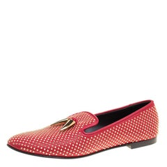 Giuseppe Zanotti Red Studded Leather Lucia Shark Tooth Smoking Slippers Size 41