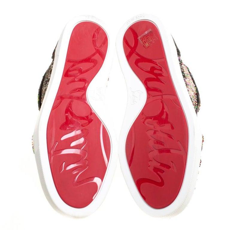 7b577dbde55 Christian Louboutin Two Tone Sequins Bip Bip Orlato High Top Sneakers Size  38