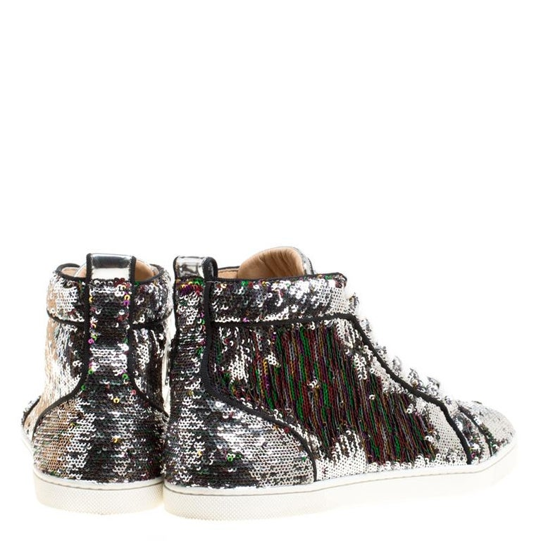1c41bd5f088e Gray Christian Louboutin Two Tone Sequins Bip Bip Orlato High Top Sneakers  Size 38 For Sale