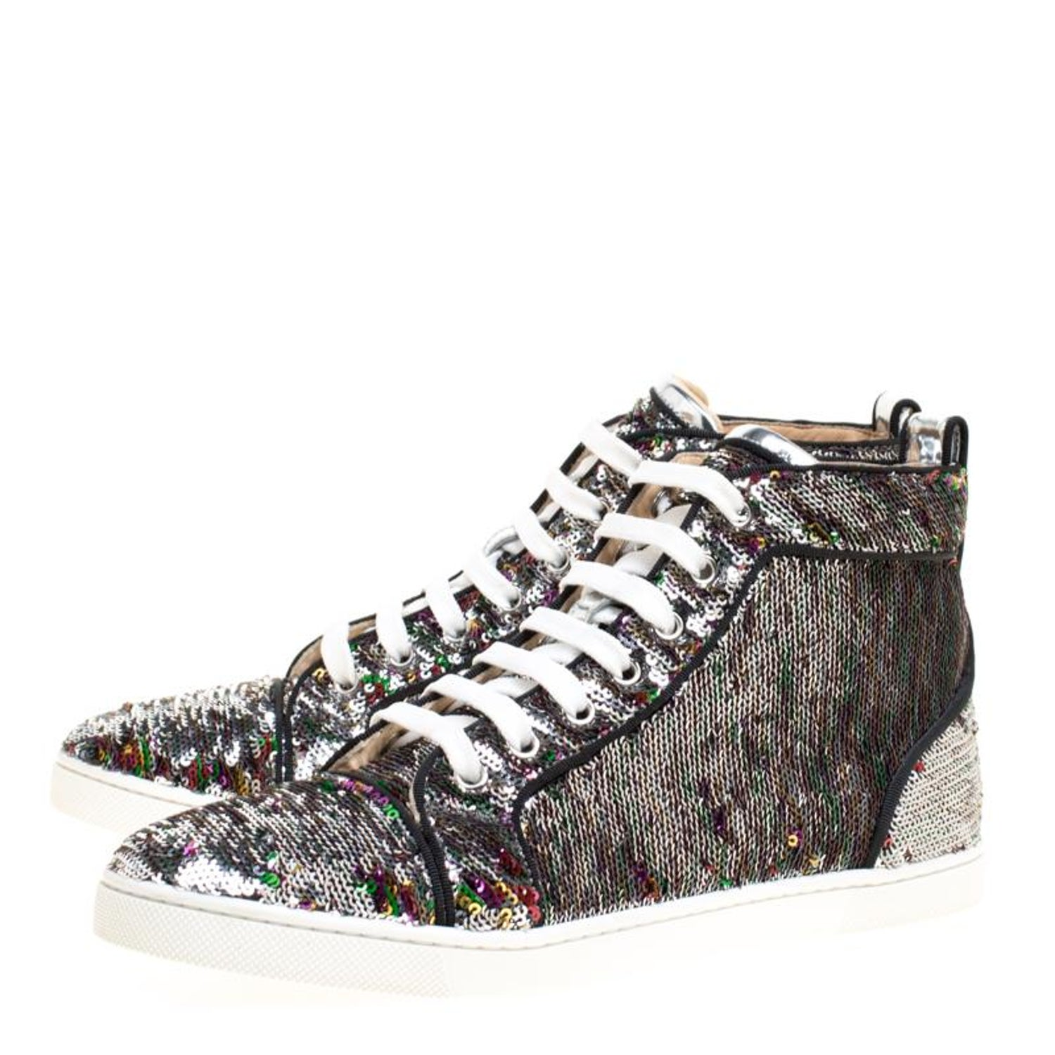 7a8d01798137 Christian Louboutin Two Tone Sequins Bip Bip Orlato High Top Sneakers Size  38 at 1stdibs