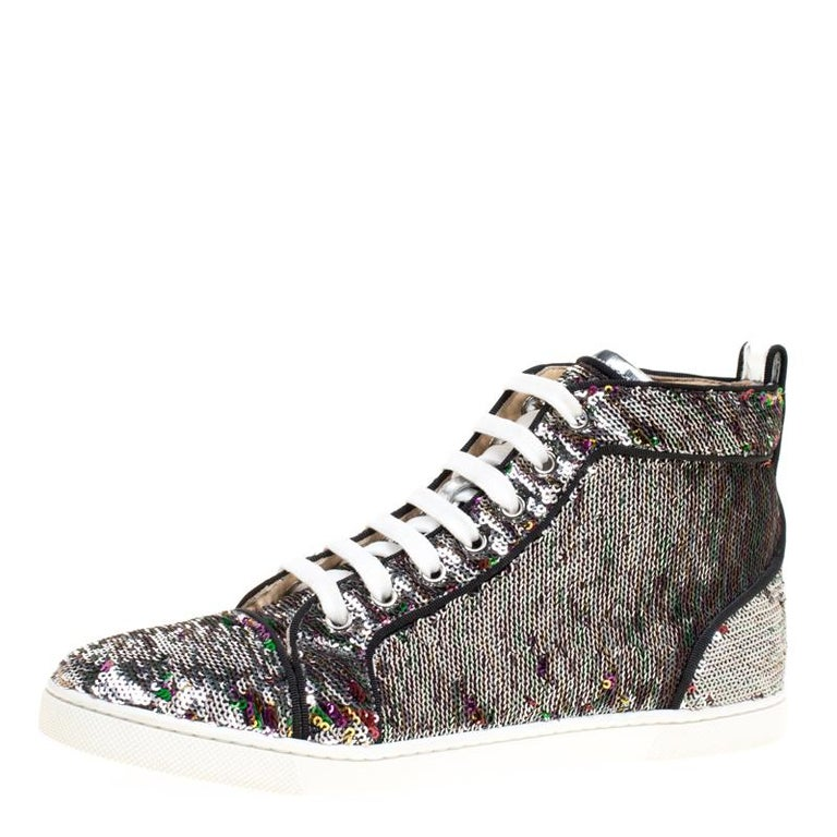 3a957c374745 Christian Louboutin Two Tone Sequins Bip Bip Orlato High Top Sneakers Size  38 For Sale