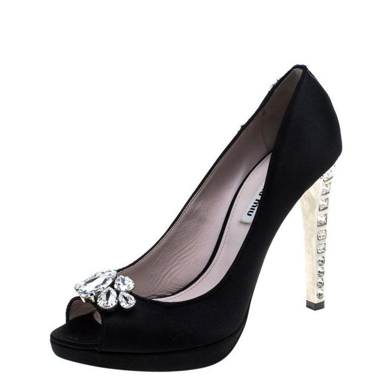 64d6f858488a Miu Miu Black Satin Crystal Embellished Peep Toe Pumps Size 41 For Sale