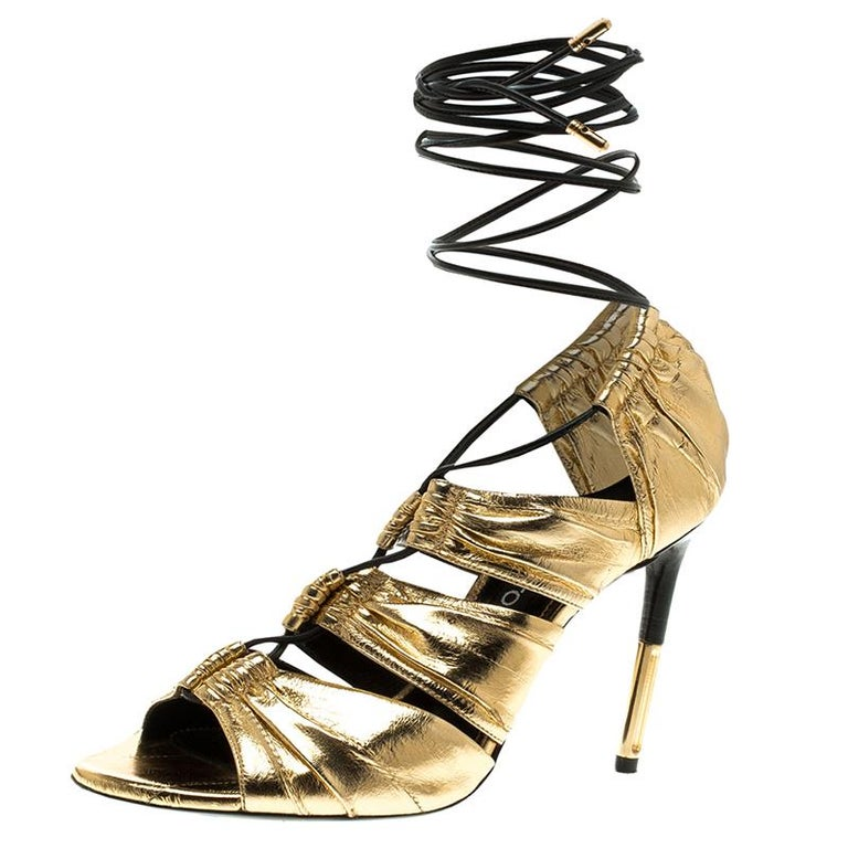 a2a39c8bca3 Tom Ford Metallic Gold Leather Stardust Lace Up Cage Sandals Size 37.5 For  Sale