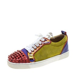Christian Louboutin Multicolor Suede and Patent Leather Louis Junior Spikes Snea