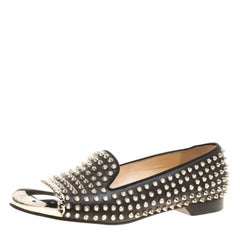 Christian Louboutin Black Spike Studded Leather Glitz Smoking Slippers Size 41.5