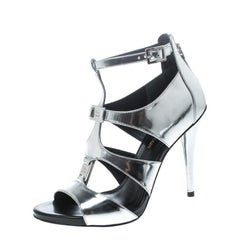 Pierre Balmain Metallic Silver Leather Cage Strappy Sandals Size 37