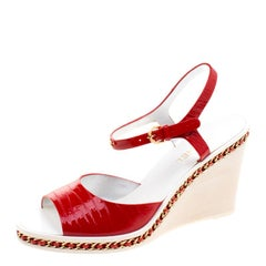 Chanel Red Patent Leather Chain Detail Ankle Strap Wedge Sandals Size 40