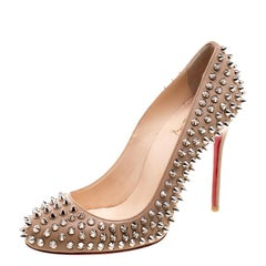 Christian Louboutin Beige Leather Fifi Spike Pumps Size 37.5