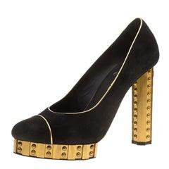 Chanel Black Suede and Gold Studded Platform Pumps Size 39.5