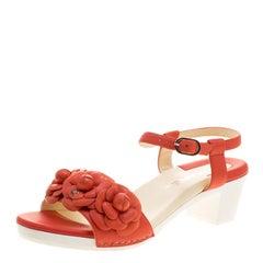 Chanel Orange Leather Camellia Embellished Ankle Strap Sandals Size 38