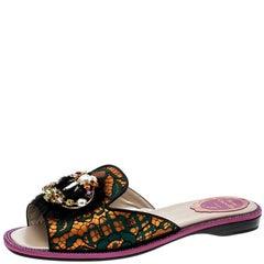 Rene Caovilla Multicolor Lace and Mink Crystal Embellished Flat Slides Size 40