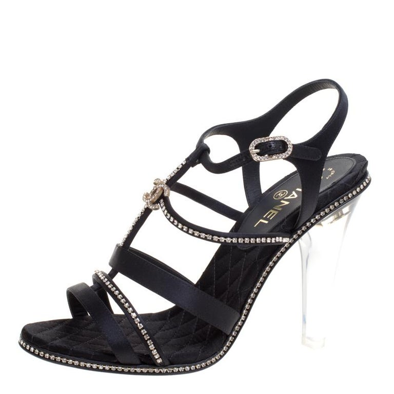 4ce78834a96 Chanel Black CC Crystal Embellished Satin Lucite Heel Strappy Sandals Size  41 For Sale