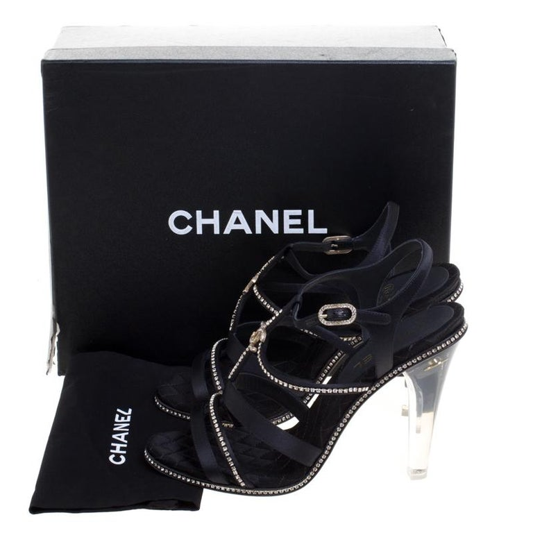 28fc70ac960 Chanel Black CC Crystal Embellished Satin Lucite Heel Strappy Sandals Size  41 For Sale 3