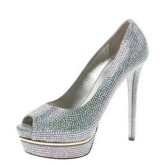 Le Silla Silver Crystal Embellished Leather Peep Toe Platform Pumps Size 39