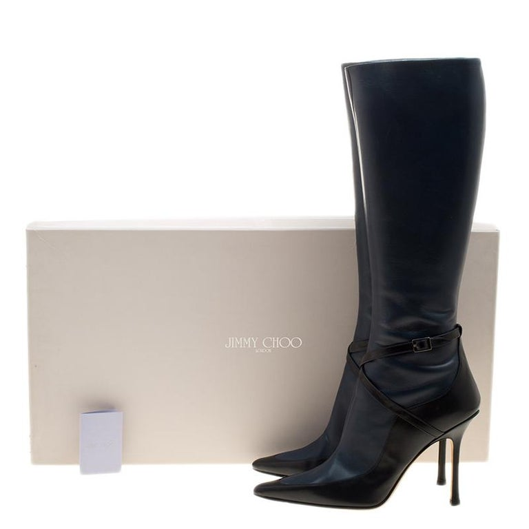5ac8af17b78a Jimmy Choo Black And Blue Leather Award Knee High Pointed Toe Boots Size 40  For Sale