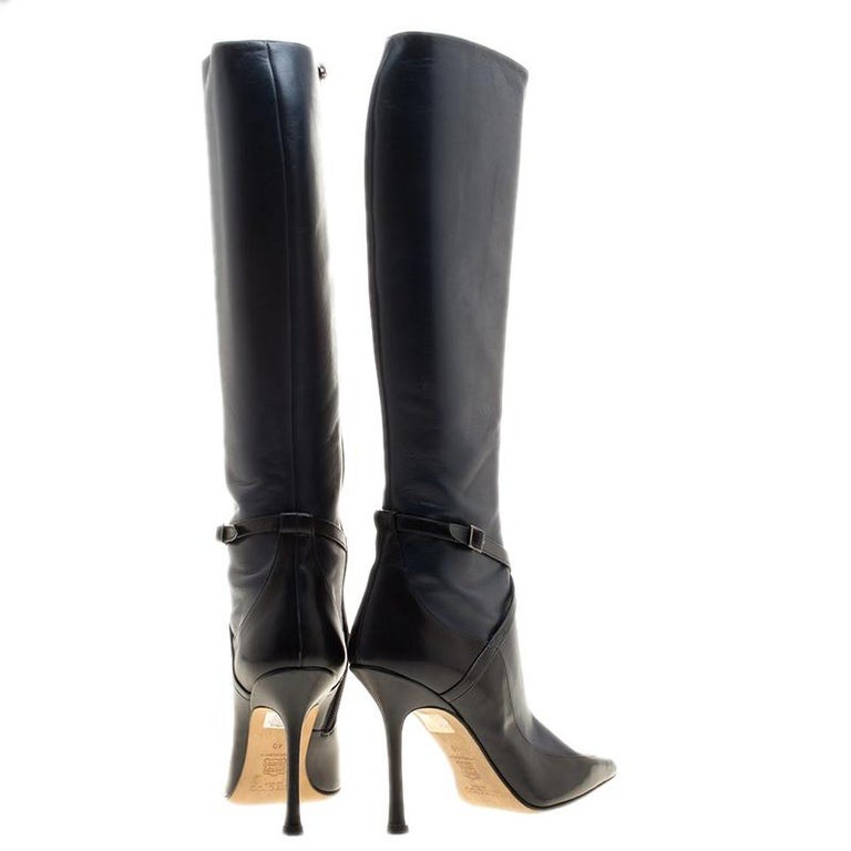 aa06ca3f6af7 Jimmy Choo Black And Blue Leather Award Knee High Pointed Toe Boots