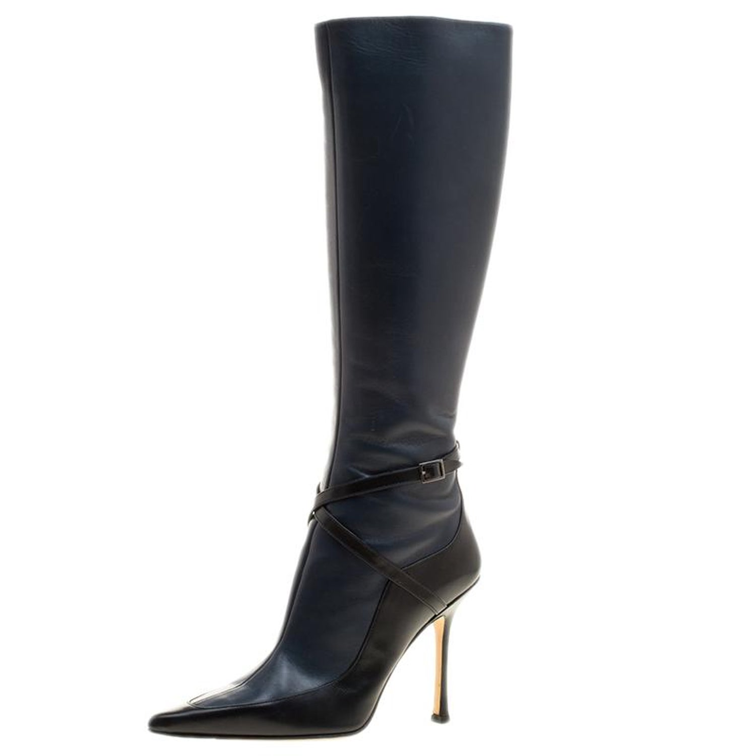 116a55135ae2 Jimmy Choo Black And Blue Leather Award Knee High Pointed Toe Boots Size 40  at 1stdibs