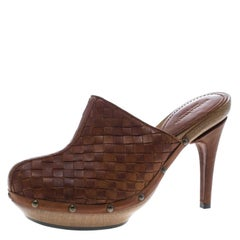 Bottega Veneta Brown Intrecciato Leather Wooden Platform Clogs Size 38