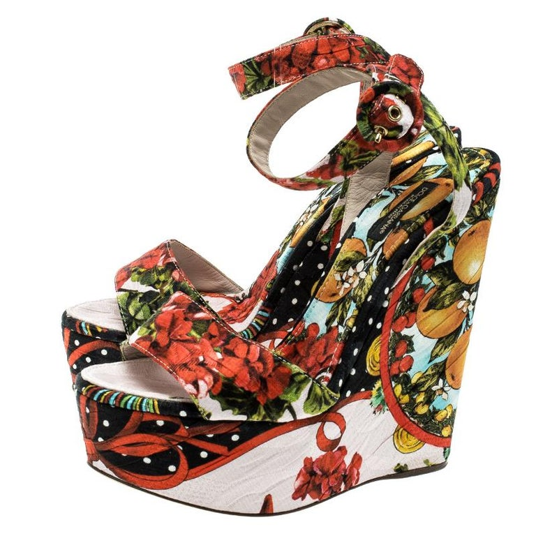 Dolce and Gabbana Multicolor Printed Brocade Peep Toe Ankle Wrap Wedge Sandals S For Sale 1