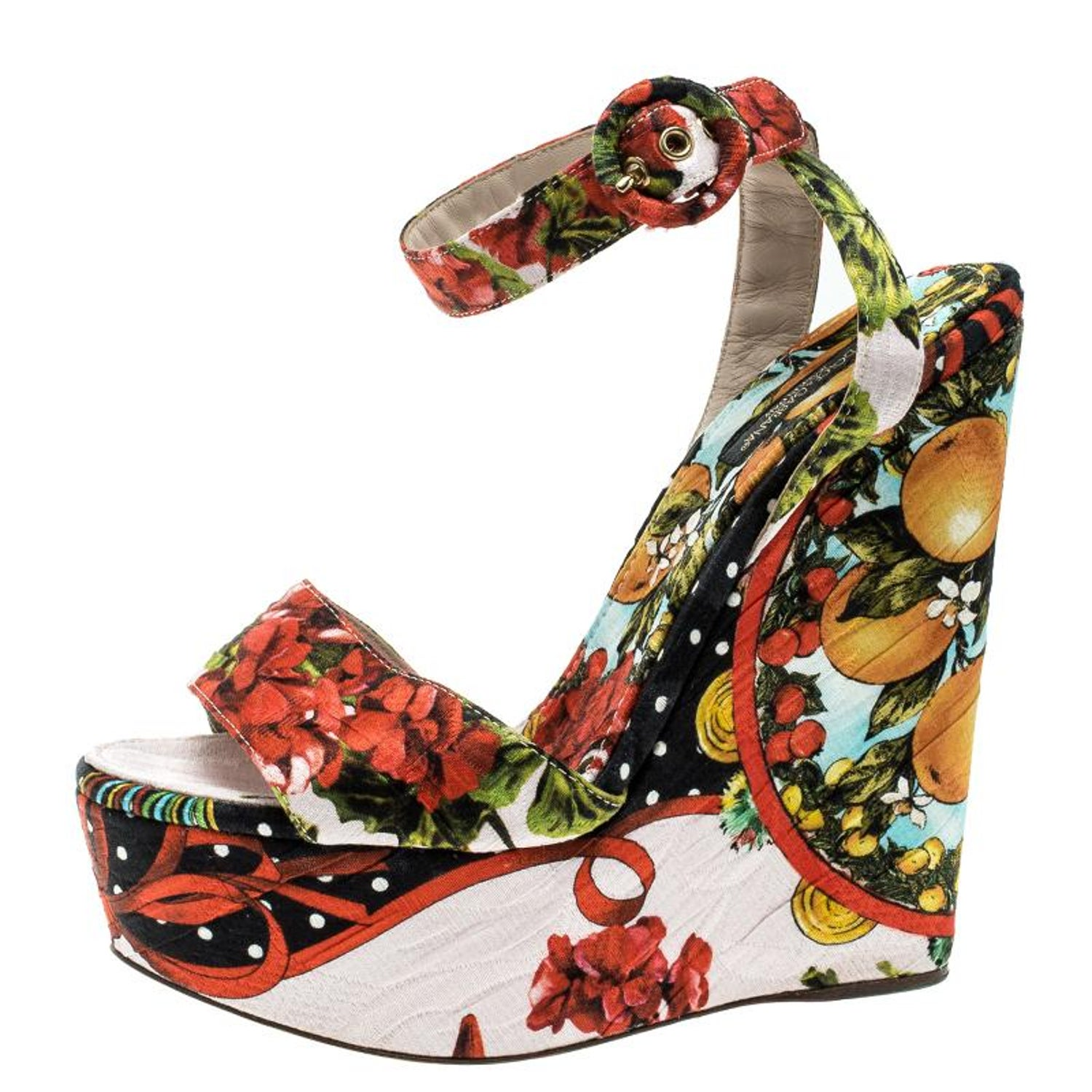 bf760ad523799 Dolce and Gabbana Multicolor Printed Brocade Peep Toe Ankle Wrap Wedge  Sandals S at 1stdibs
