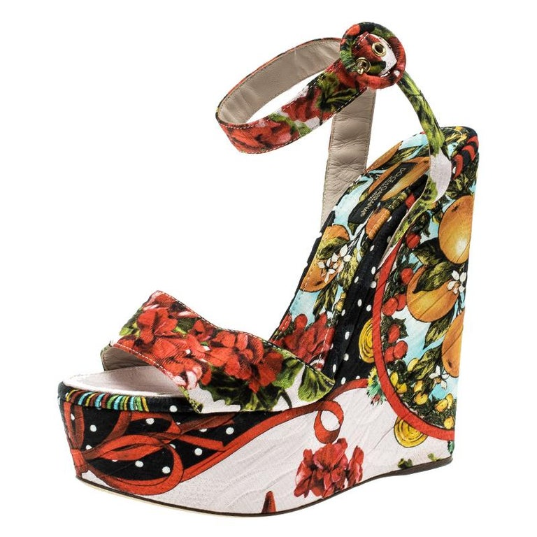 Dolce and Gabbana Multicolor Printed Brocade Peep Toe Ankle Wrap Wedge Sandals S For Sale