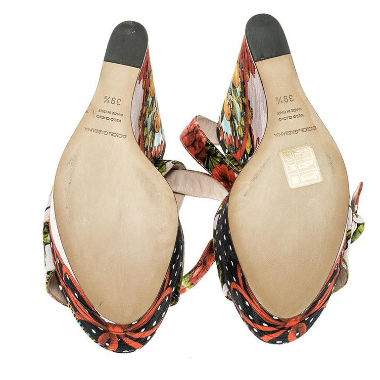 Dolce and Gabbana Multicolor Printed Brocade Peep Toe Ankle Wrap Wedge Sandals S In Excellent Condition For Sale In Dubai, AE
