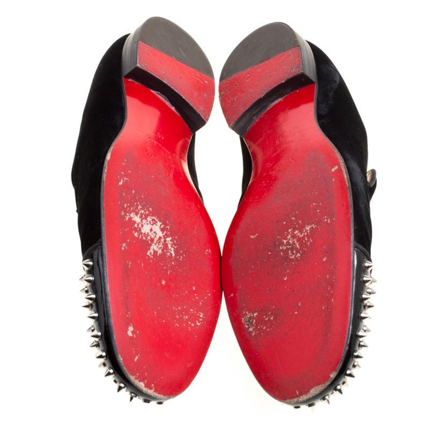 5f9e6afa4319 Christian Louboutin Black Velvet Harvanana Spiked Smoking Slippers Size 45  at 1stdibs