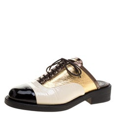 Chanel Tricolor Patent Leather Lace Up Slip On Mules Size 38