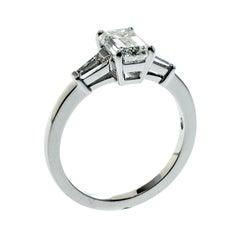 Bvlgari Griffe 1.51ct Emerald Cut Diamond Solitaire Platinum Ring Size 56