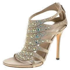 Gucci Beige Crystal Embellished Satin Peep Toe Cage Sandals Size 38.5