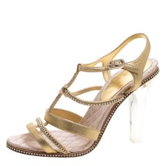 Chanel Metallic Gold CC Crystal Embellished Suede Lucite Heel Strappy Sandals Si