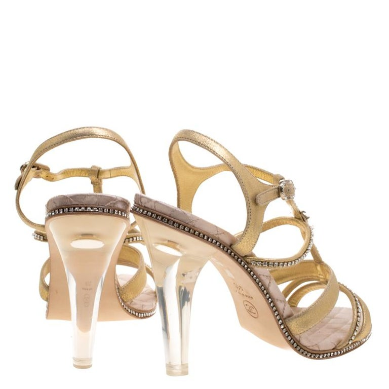 Chanel Metallic Gold CC Crystal Embellished Suede Lucite Heel Strappy  Sandals Si In New Condition For