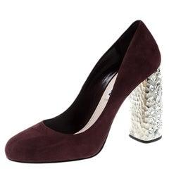 Miu Miu Burgundy Suede Jewel Heel Pumps Size 38