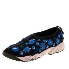 Dior Black Sequins Embellished Mesh Fusion Slip On Sneakers Size 38.5