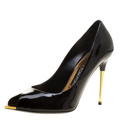 Tom Ford Black Patent Leather Peep Toe Pumps Size 38.5