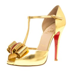 Christian Louboutin Metallic Gold Leather Archidisco T Strap Peep Toe Sandals Si