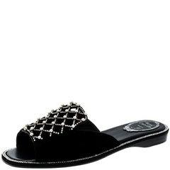 Rene Caovilla Black Laser Cut Pearl Embellished Suede Flat Slides Size 38