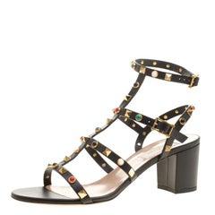 Valentino Black Leather Rolling Rockstud Cabochon Gladiator Sandals Size 39