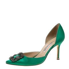 Manolo Blahnik Green Satin Hang Isido D'orsay Pumps Size 38