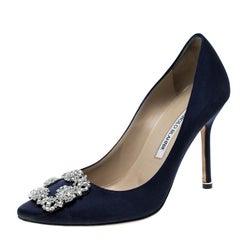 Manolo Blahnik Navy Blue Satin Hangisi Crystal Embellished Pumps Size 38.5